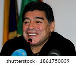 Small photo of ROME, ITALY-FEBRUARY 14:Diego Maradona speaks to the media about his ongoing legal dispute with the Italian Tax authorities during a press conference at the European Union office on February 14, 2014.