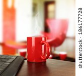 red mug and office  | Shutterstock . vector #186177728