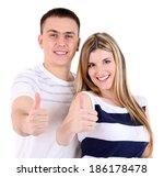 loving couple isolated on white | Shutterstock . vector #186178478