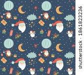 santa balloons flying santa... | Shutterstock .eps vector #1861823236