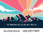 vintage styled mountains... | Shutterstock .eps vector #1861857889