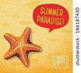 cute summer poster   ocean... | Shutterstock .eps vector #186187430