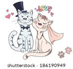 groom and bride  cat's wedding. ... | Shutterstock . vector #186190949