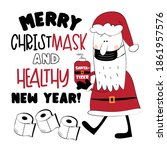 merry christmask and healthy... | Shutterstock .eps vector #1861957576