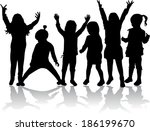 group of children's silhouettes | Shutterstock .eps vector #186199670