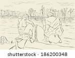 sketch hikers watching river | Shutterstock .eps vector #186200348