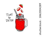 smoothies or detox cocktail day ... | Shutterstock .eps vector #1862004289