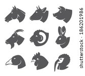 Farm Animals And Birds Icon Set