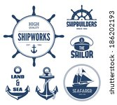 Blue Nautical Signs And Labels