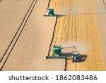 Combine Harvesters Harvesting...