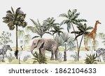 tropical vintage botanical... | Shutterstock .eps vector #1862104633
