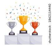 winner podium cups. gold ... | Shutterstock .eps vector #1862114440