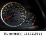 empty fuel warning light in car ... | Shutterstock . vector #1862115916
