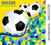 soccer background with balls... | Shutterstock .eps vector #186212228