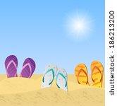 illustration of beach sandals... | Shutterstock . vector #186213200