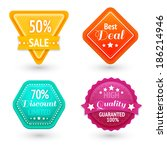 sale signs and symbols set for... | Shutterstock . vector #186214946