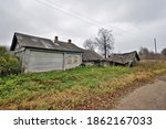 Ruined Wooden Farmhouse And...