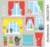 set of windows  curtains and... | Shutterstock .eps vector #186216764