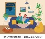 couple having romantic dinner... | Shutterstock .eps vector #1862187280