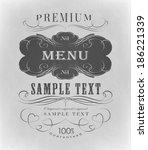 menu typography  decorative ... | Shutterstock .eps vector #186221339
