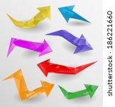 arrow icon set. vector  three... | Shutterstock .eps vector #186221660