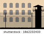 prison building behind barbed... | Shutterstock .eps vector #1862232433