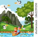 children row the boat in the... | Shutterstock .eps vector #1862259250