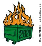 2020 dumpster fire with wheel t ...   Shutterstock .eps vector #1862261776