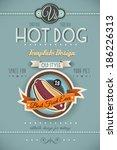 vintage hot dog poster template ... | Shutterstock . vector #186226313