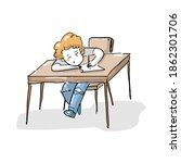 hand drawn of study and work | Shutterstock .eps vector #1862301706