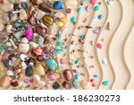 pebbles  gemstones and shells... | Shutterstock . vector #186230273