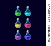 set of game ui colorful potion...