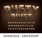 rusty rivet alphabet font.... | Shutterstock .eps vector #1862320189