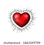 illustration with a red heart... | Shutterstock .eps vector #1862349709