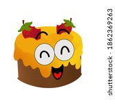 fruit flavored cake but face... | Shutterstock . vector #1862369263