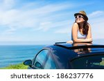 relaxed happy woman on summer... | Shutterstock . vector #186237776