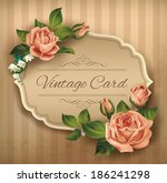 vintage card with roses. vector ... | Shutterstock .eps vector #186241298
