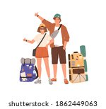 young hitchhikers with...   Shutterstock .eps vector #1862449063