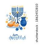 Hanukkah Symbols Flat Vector...