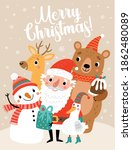 christmas card with santa and... | Shutterstock .eps vector #1862480089