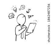 the power of dollar doodle | Shutterstock .eps vector #1862487256