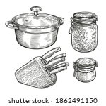 tableware sketch. cooking  food ... | Shutterstock .eps vector #1862491150