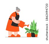 flat illustration with granny... | Shutterstock .eps vector #1862494720