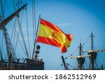 Spanish Galleon With Flag...