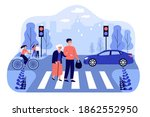 happy man helping old woman... | Shutterstock .eps vector #1862552950