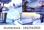 collection of winter parks.... | Shutterstock .eps vector #1862562820