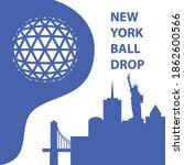 new york ball drop concept.... | Shutterstock .eps vector #1862600566