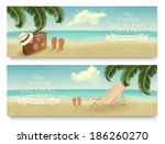 two retro summer vacation... | Shutterstock .eps vector #186260270