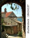 Old stone village - stock photo