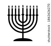 Menorah Black Hanukkah Icon...
